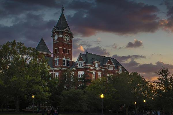 Samford Hall at night