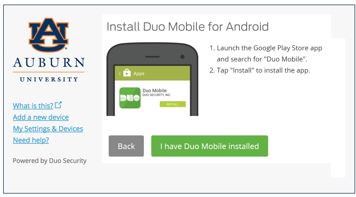 Install Duo Mobile for Android
