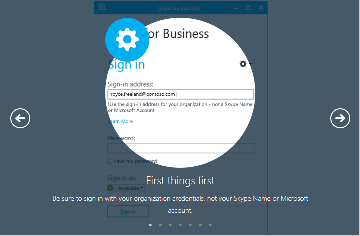 Be sure to sign in with your organization credentials, not your Skype Name or Microsoft account.