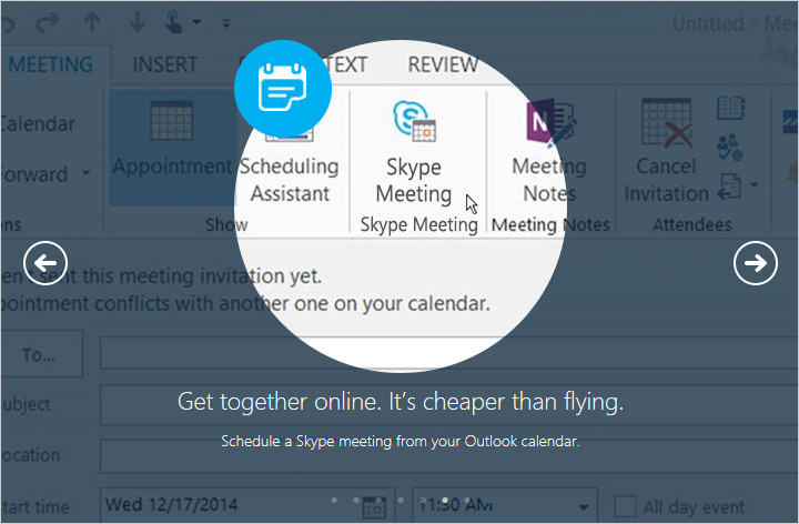 Schedule a Skype meeting from your Outlook calendar.