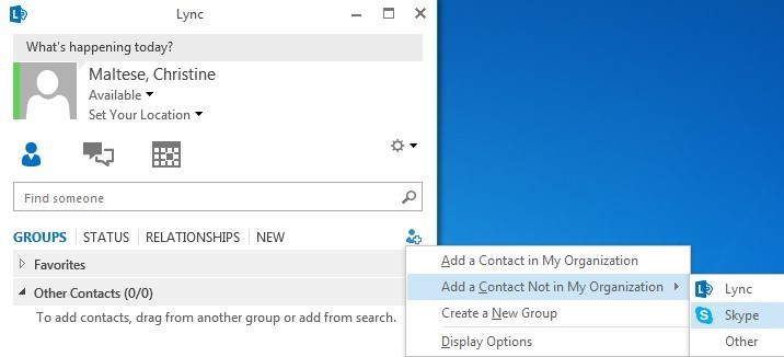 Add user and select Add a contact not in my organization