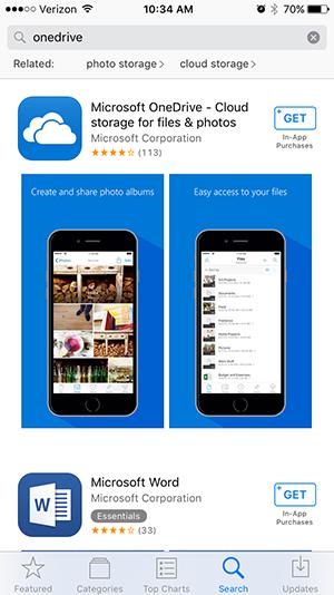 Microsoft OneDrive in iTunes Store