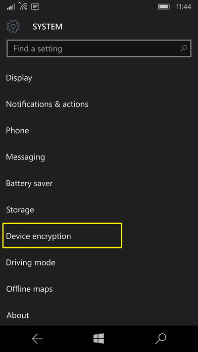 Device encryption on the System page