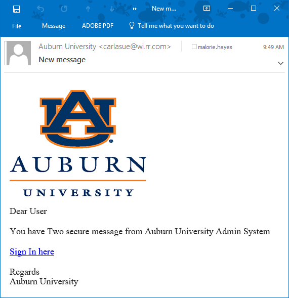 Today's Phishing Email