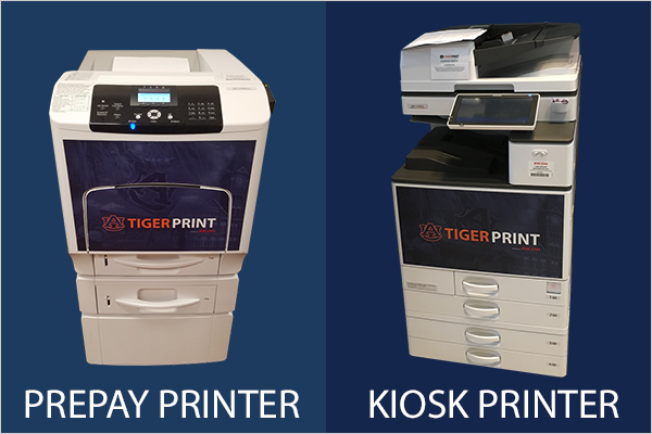 PrePay printer is smaller and has swipe card on right side; Kiosk printer is a large mult-function printer