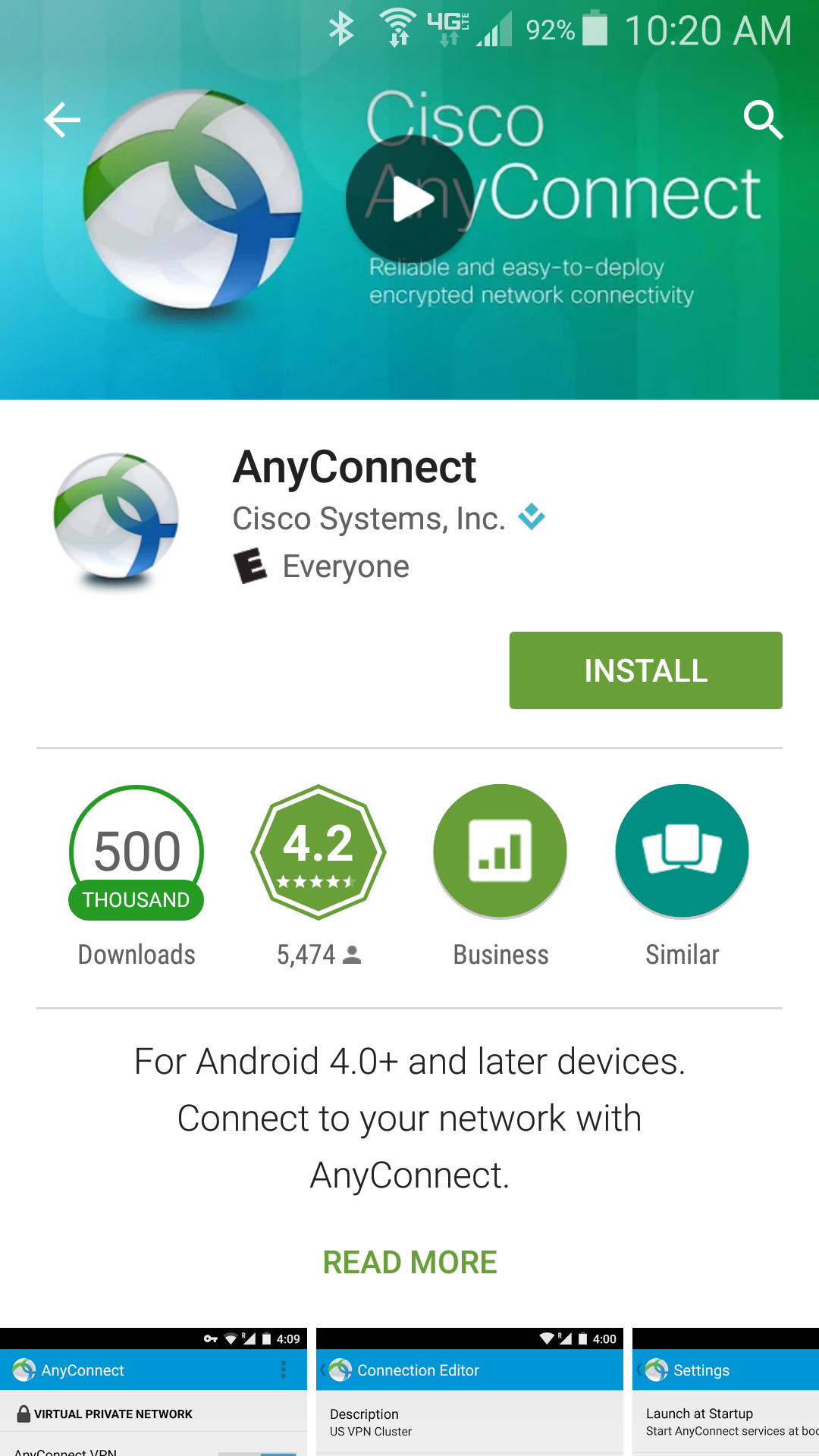 AnyConnect Client in the Google Play Store