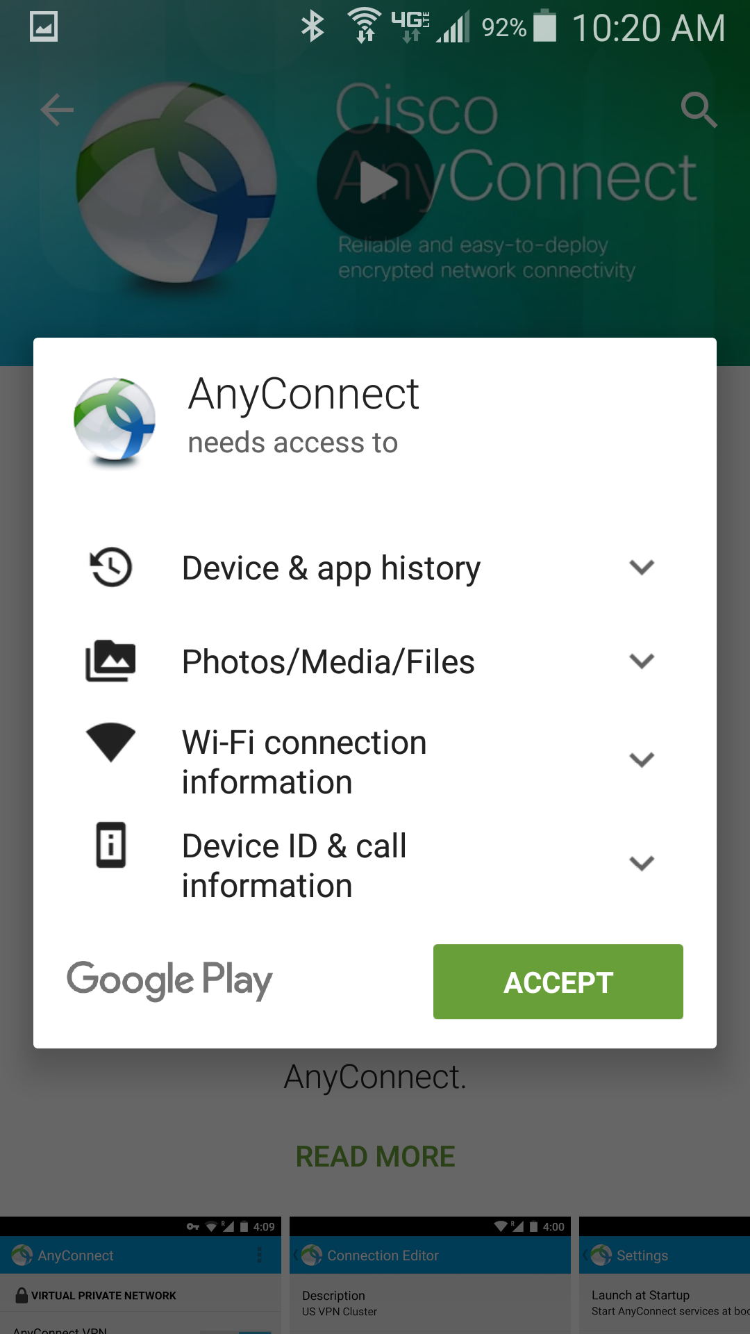 Accept permissions for app to be installed