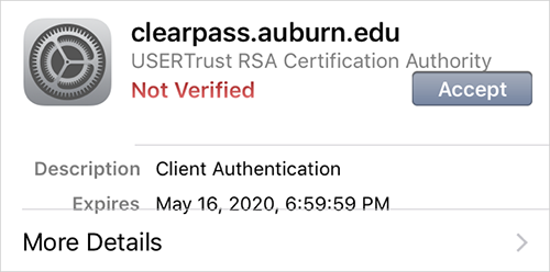 Certificate Warning for iOS