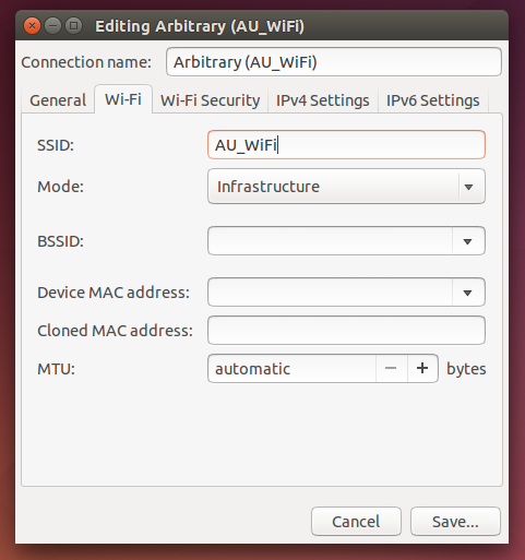 Connection name = arbitrary; SSID = AU_WiFi