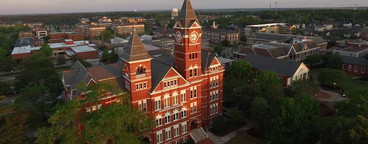 An aerial view of Samford Hall at Auburn University.