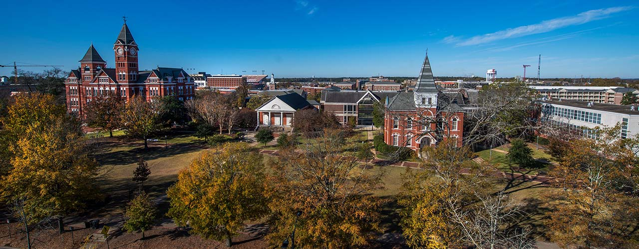 Aerial view of Samford lawn