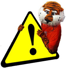 Aubie with Warning Sign