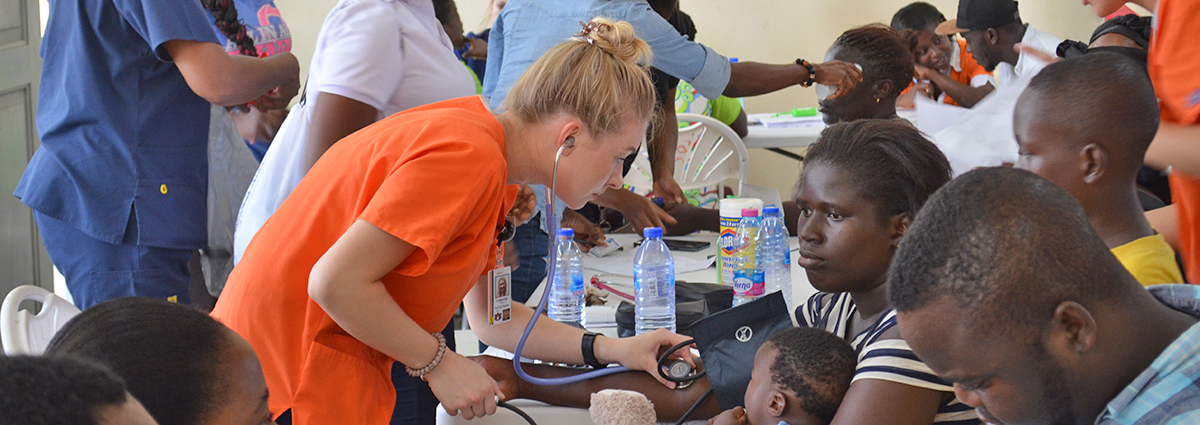 AU nursing students working at the free health clinic in Sekondi, Ghana.