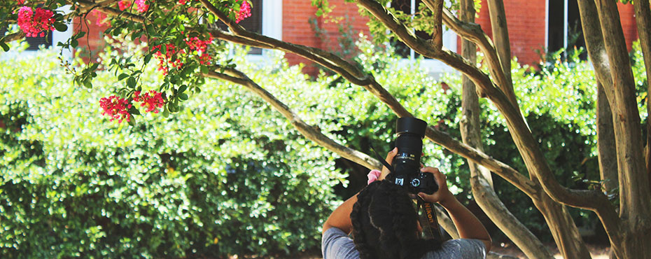 A student at Intermediate Photography Camp takes a picture of a tree blossom outside during creative time.