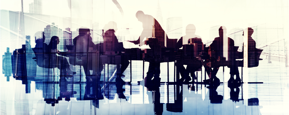 Abstract Image of Business People's Silhouettes in a Meeting.