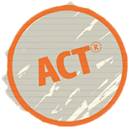 The letters 'ACT' written on paper circled in orange