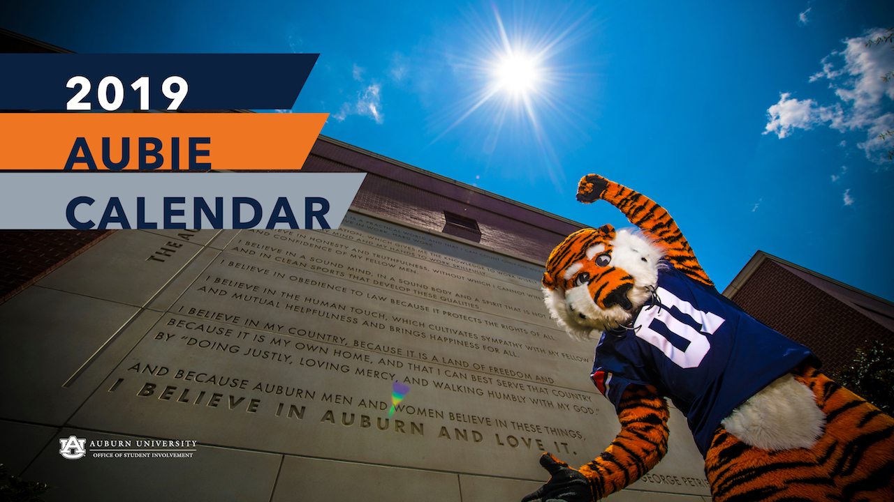 Auburn University 2019 Calendar Aubie the Tiger